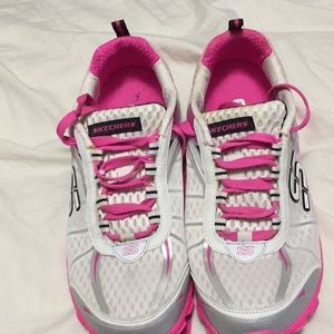 Neon pink and white Skechers